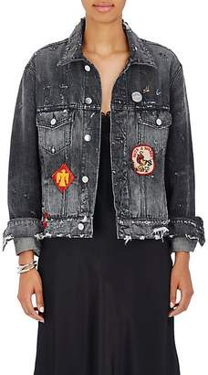 Amiri Women's Patchwork Distressed Denim Jacket - Med Black Size M