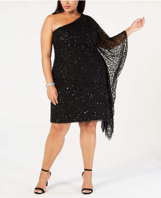 Adrianna Papell Plus Size Sequined One-Shoulder Dress