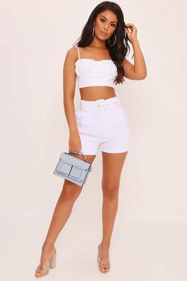 I SAW IT FIRST White Belted High Waist Shorts