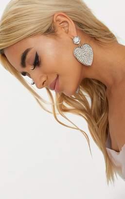 PrettyLittleThing Silver Statement Jewel Heart Earrings