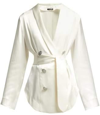 Balmain Double Breasted Waist Tie Silk Blouse - Womens - White
