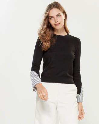 YAL New York Long Sleeve Striped Cuff Sweater