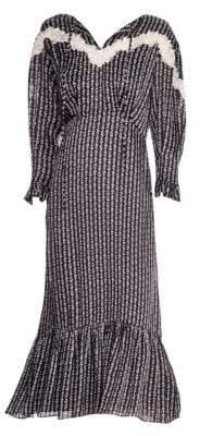 Sandro Women's Marceau Floral Embroidered& Lace Midi Flounce Dress - Black - Size 38 (6)