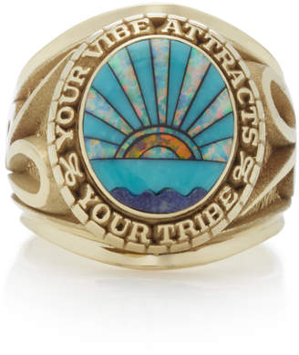 Jacquie Aiche 14K Yellow Gold Lapis Turquoise And Opal Signet Ring