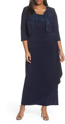 Alex Evenings Side Ruched Evening Dress with Bolero