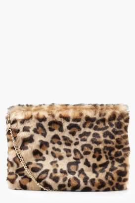 boohoo Faux Fur Leopard Cross Body Bag