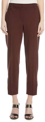Brunello Cucinelli Straight-Leg Lightweight Wool Cropped Pants w/ Split Hem