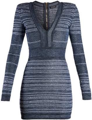 Balmain V-neck striped stretch-knit mini dress