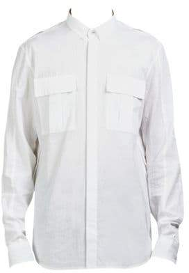 Balmain Long-Sleeve Cotton Casual Button Down Shirt