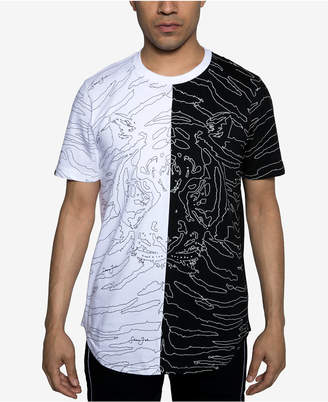 Sean John Mens Floating Tiger Split Graphic T-Shirt