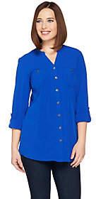 Denim & Co. Button Front Tunic Shirt withY Neckline