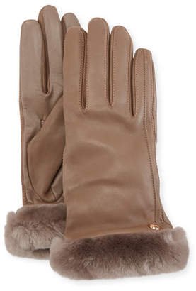 UGG Leather Gloves w/ Shearling Fur Cuffs
