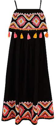 River Island Girls Black embroidered tassel maxi dress