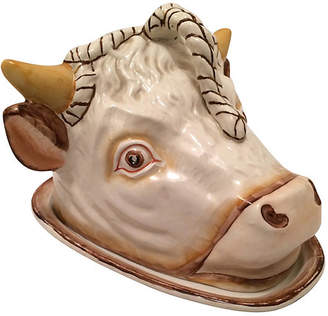 One Kings Lane Vintage Staffordshire Bull's Head Cheese Server