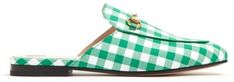 Gucci Princetown Gingham Backless Loafers - Womens - Green White