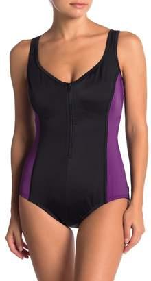 Reebok Colorblock Zip Front One-Piece Swimsuit