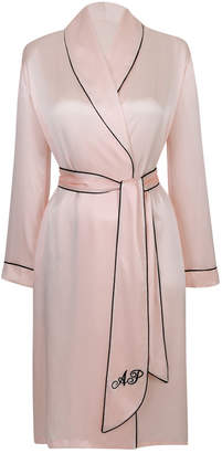 Agent Provocateur Classic Dressing Gown In Pink Silk