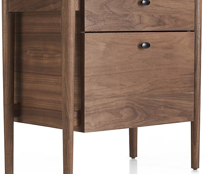 Crate & Barrel Kendall Walnut Filing Cabinet