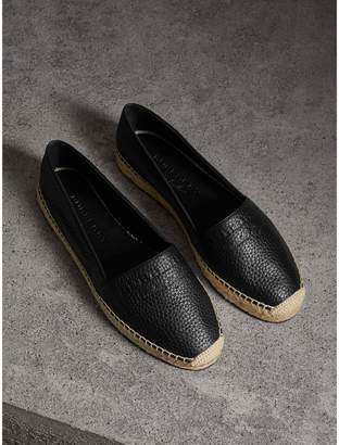Burberry Embossed Grainy Leather Espadrilles