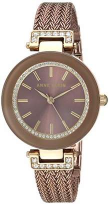 05b0f674f Anne Klein Women's AK/1907BNTT Swarovski Crystal Accented Gold-Tone and  Light Brown Mesh
