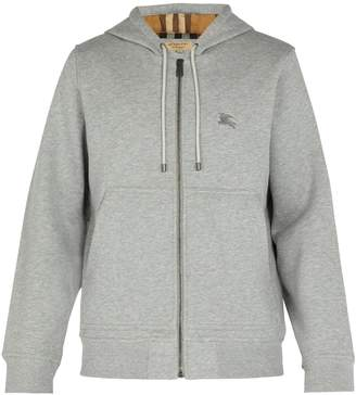Burberry Logo-embroidered cotton-blend hooded sweatshirt