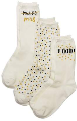 Kate Spade Bridal Mid-Calf Socks, Set of 3