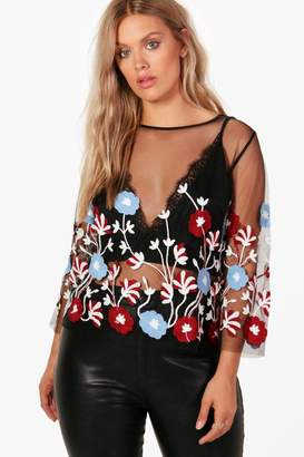 boohoo Plus Kelly Embroidered Shell Top