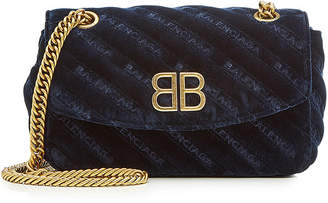 Balenciaga Chain Velvet Shoulder Bag