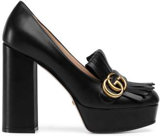 Gucci Leather platform pump with fringe