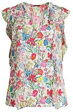 Elie Tahari Women's Dovie Chiffon Ruffle Floral Blouse