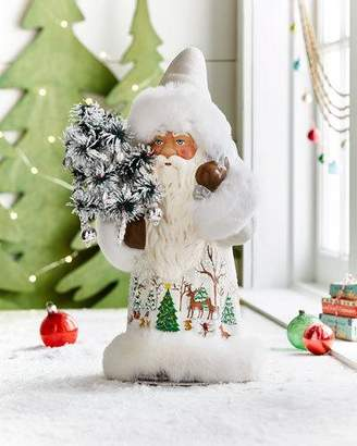 Ino Schaller White Santa Figure with Painted Winter Scene