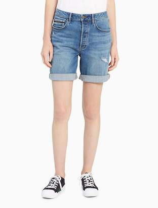 Calvin Klein light blue distressed city shorts