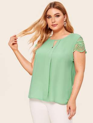 Shein Plus V-cut Guipure Lace Cuff Blouse