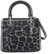 Christian Dior Christian Dior Lady Dior Gray Wool Sequin Animal Print Small Satchel Handbag