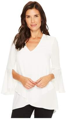 Karen Kane Split Sleeve Asymmetric Hem Top Women's Clothing
