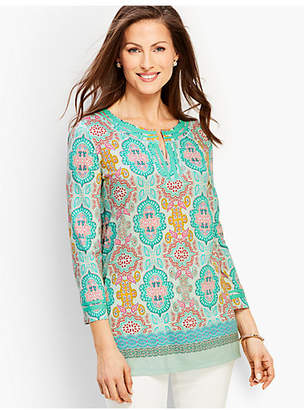 Talbots Moroccan Medallion Split-Neck Tunic