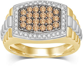 FINE JEWELRY Mens 1 CT. T.W. White and Color-Enhanced Champagne Diamond Two-Tone 10K Yellow Gold Ring