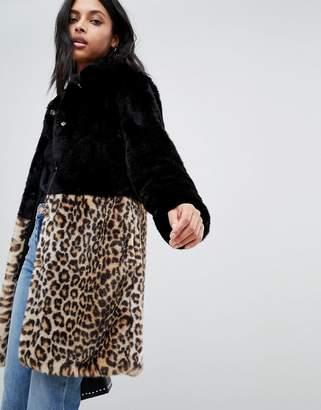 Barneys New York Barneys Originals leopard print color block faux fur coat