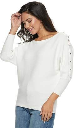 JLO by Jennifer Lopez Women's Ribbed Button Accent Sweater