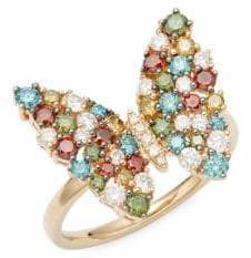 Effy Multicolored Diamonds & 14K Yellow Gold Butterfly Ring