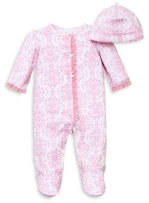 Little Me Girls' Damask Print Footie & Hat Set - Baby