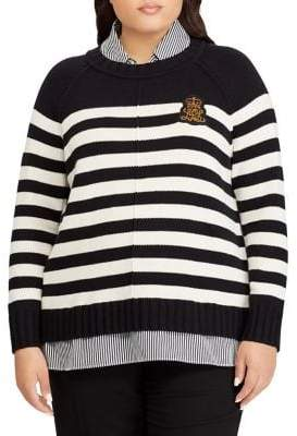 Lauren Ralph Lauren Plus Bullion-Patch Striped Layered Sweater