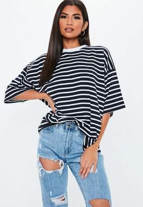 Missguided Navy Stripe Drop Shoulder T Shirt