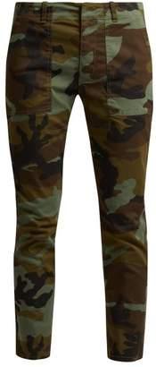 Nili Lotan Jenna Camouflage Print Cotton Blend Trousers - Womens - Khaki