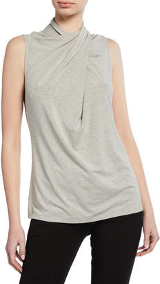 Elie Tahari Landon Mock-Neck Sleeveless Ruched Knit Top