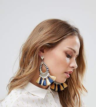 Glamorous Navy & Yellow Tassel Statement Earrings (+)