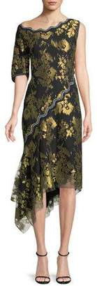 Peter Pilotto Asymmetric Metallic Jacquard Midi Cocktail Dress w/ Handkerchief Hem