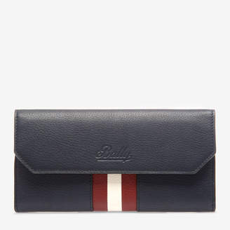 Bally Tinney Blue, Women's grained bovine leather continental wallet in ink