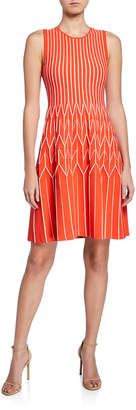 Lela Rose Chevron Pleated Fit-and-Flare Dress