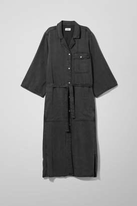 Weekday Bay Denim Shirt Dress - Black
